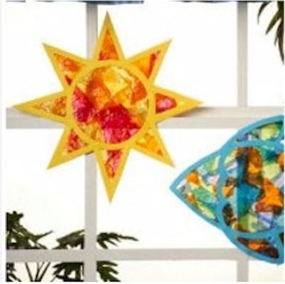 tissue paper star sun catcher