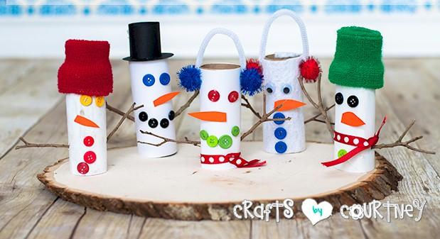 Image of Cardboard Tube Snowmen
