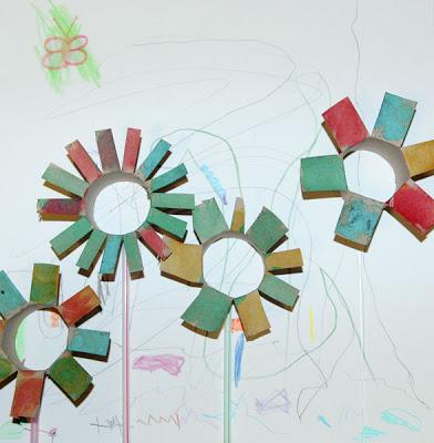 Image of Cardboard Tube Flowers