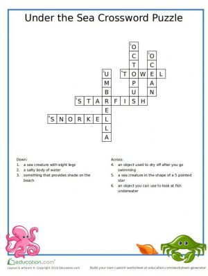 Image of Under The Sea Printable Crossword Puzzle