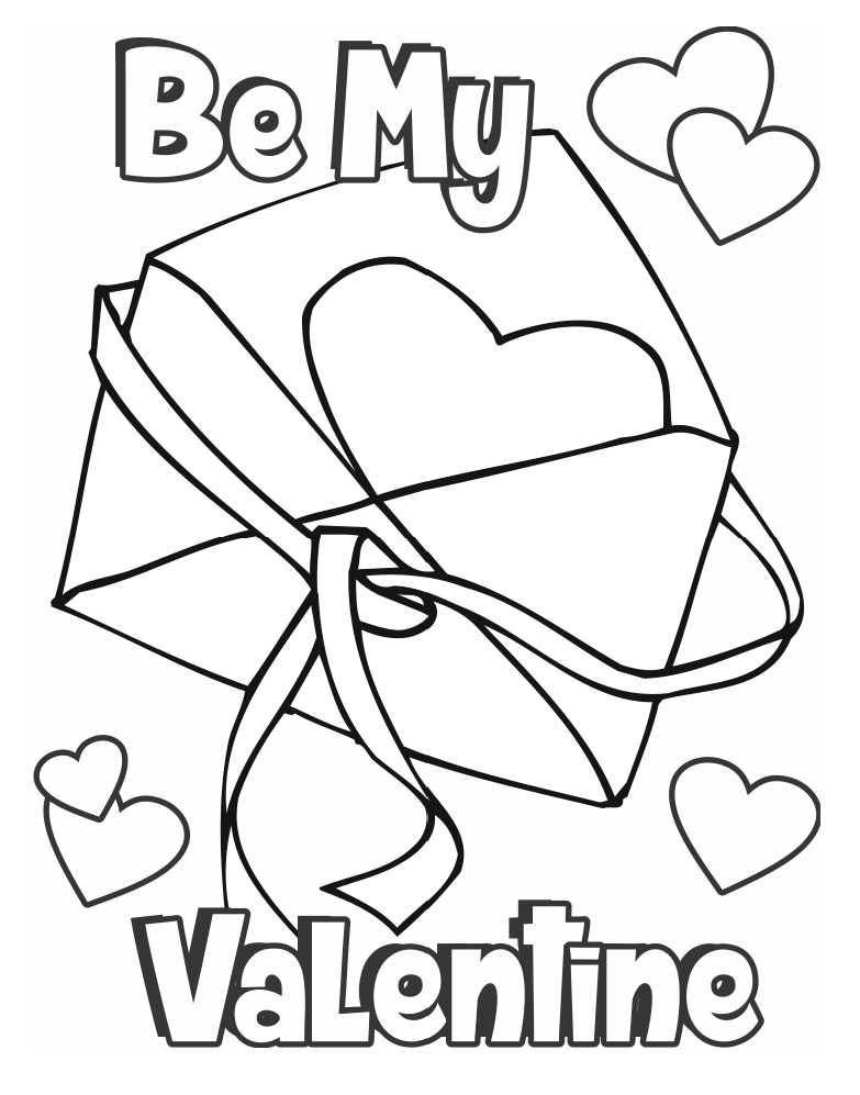 Valentine Coloring Page Card