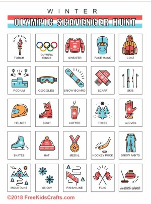 Image of Printable Winter Olympic Scavenger Hunt Game