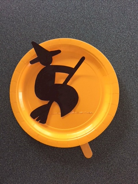 Paper Plate Halloween Witch Puppet