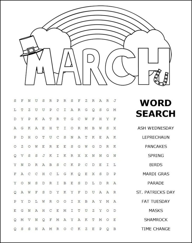 Printable March Word Search