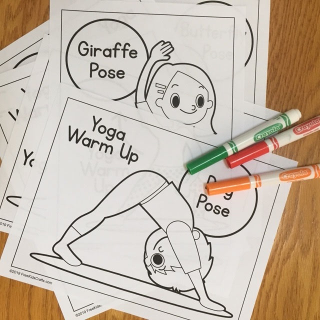 Basic yoga coloring pages for young children
