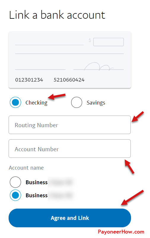 Enter Routing & Account number from Payoneer