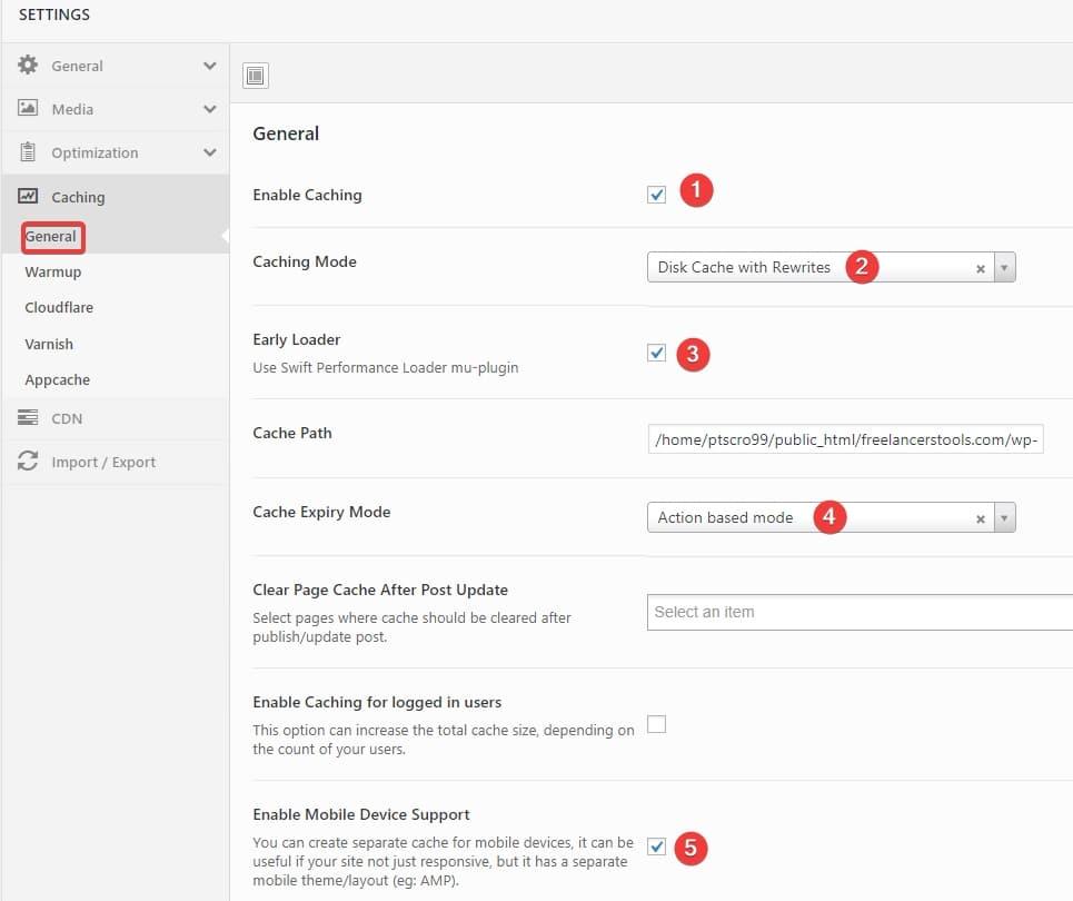 Swift Performance plugin default settings Freelancers tools 12
