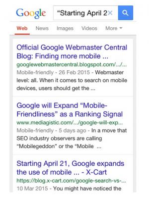 mobile friendly search