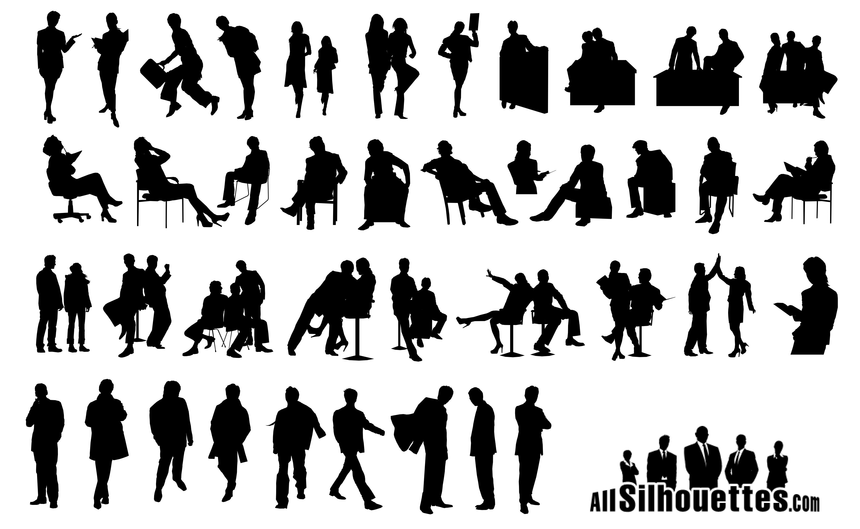 Business People Silhouettes Vector Icon Template Clipart