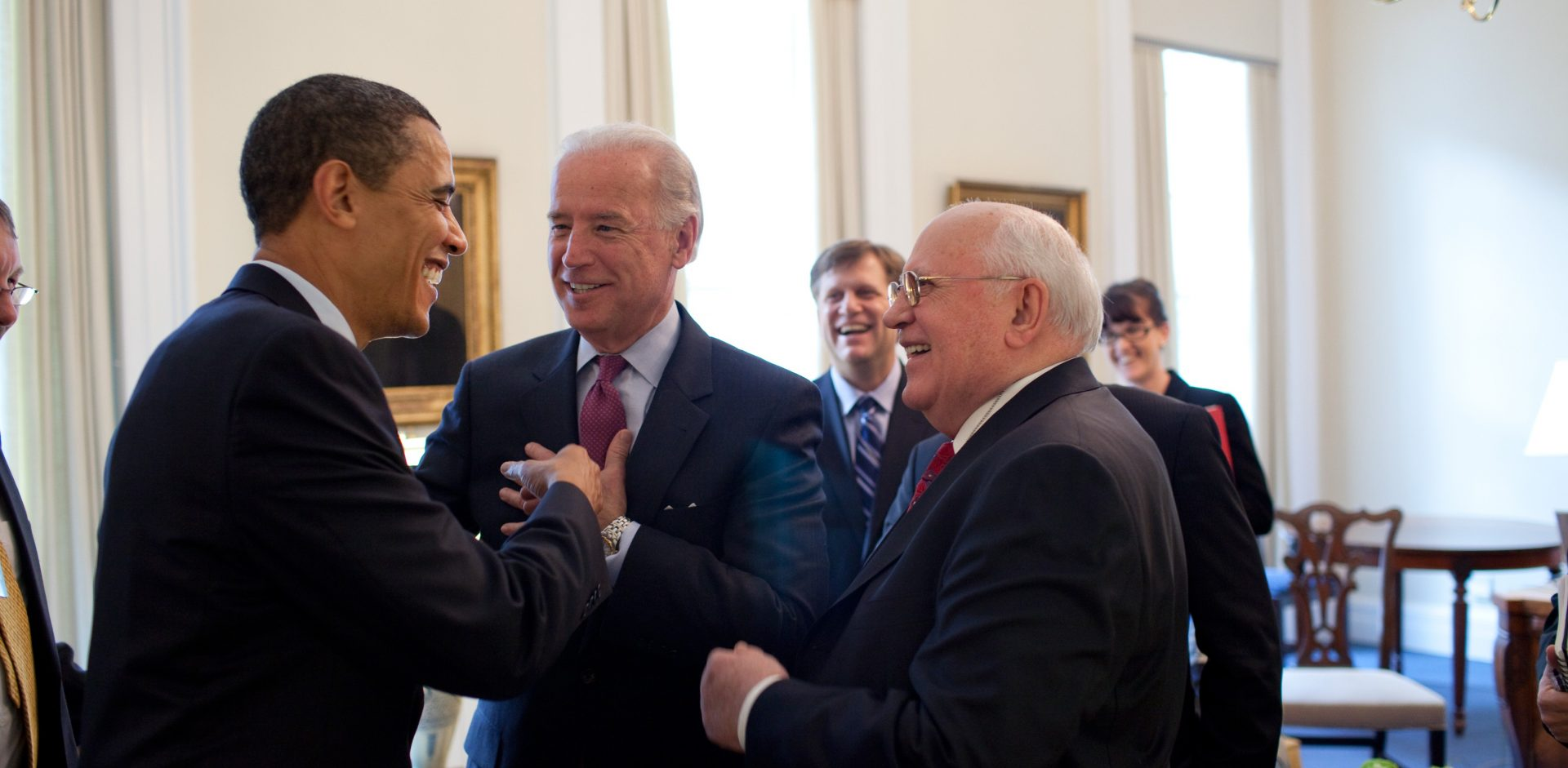 President Barack Obama drops by VP Joe Biden's meeting with former Soviet Union President Mikhail Gorbachev in the Vice President's Office, West Wing 3/20/09. Official White House Photo by Pete Souza