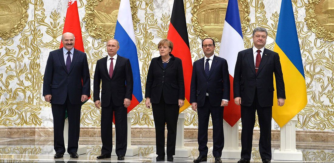 Normandy format talks in Minsk (February 2015)/Kremlin.ru via Wikimedia COmmons