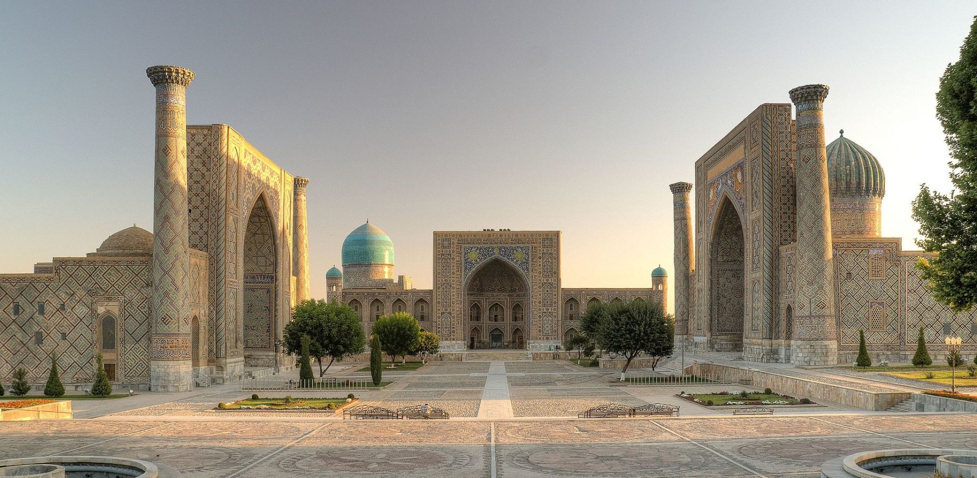 Registan square after sunset in Samarkand/Uzbekistan By Ekrem Canli via Wikimedia Commons