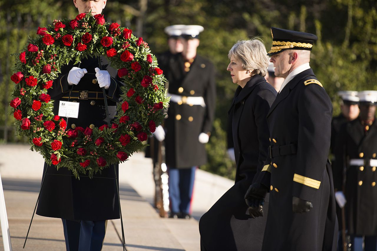 Prime Minister of the United Kingdom Theresa May visits Arlington National Cemetery, U.S. Army photo by Rachel Larue