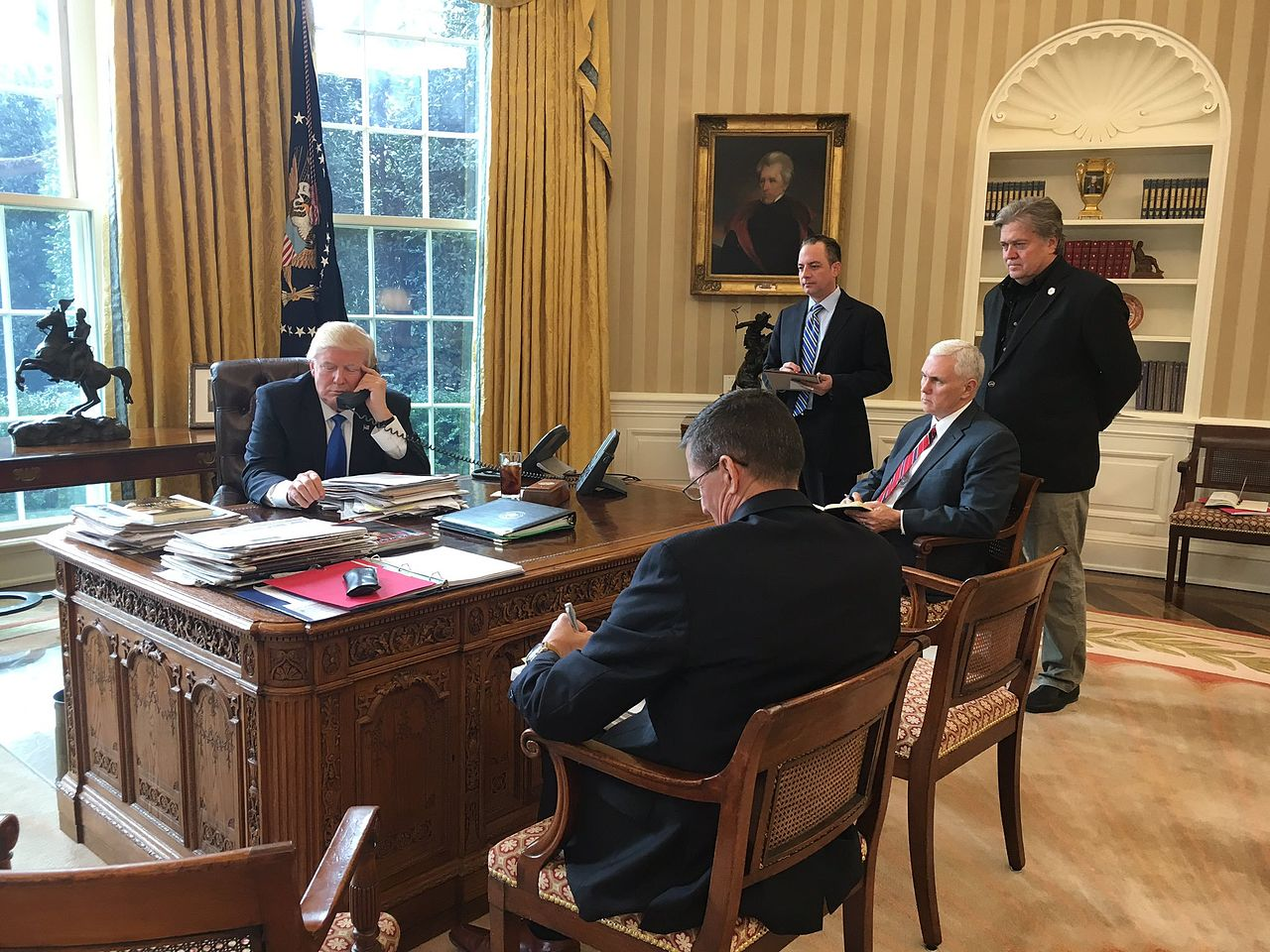 Trump speaking with Putin, Oval Office, photo Sean Spicer, White House press secretary
