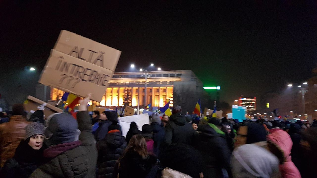 The protest that took place in Bucharest on 1 February 2017 in front of the Government building, photo Babu