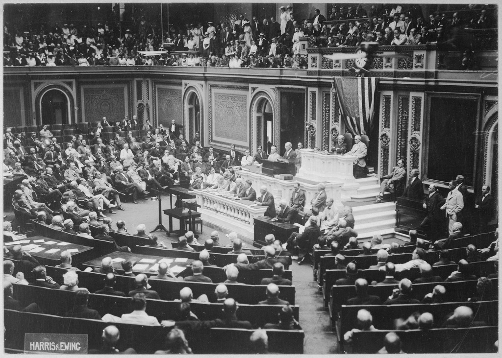 President Wilson before Congress announcing the break in the official relations with Germany U.S. National Archives and Records Administration