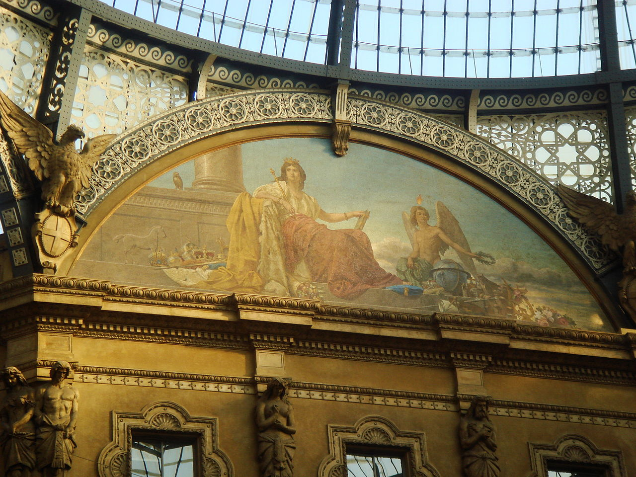 Allegorical mosaic Europe and her Genius, Gallery Vittorio Emanuele II in Milan, Italy, by Giovanni Dall'Orto