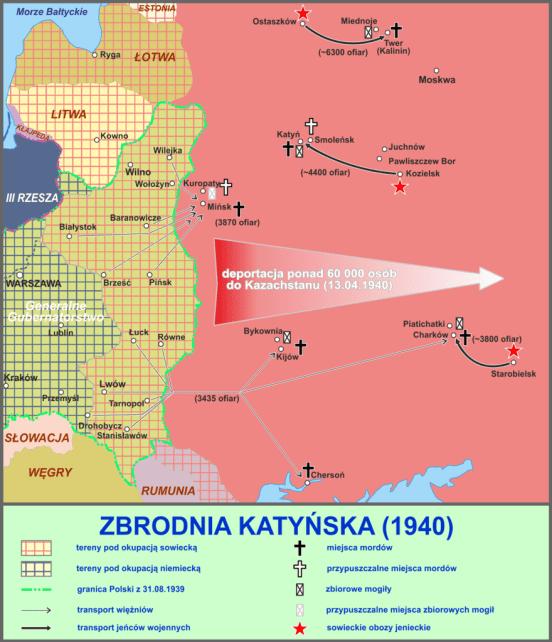 Map of the Massacre of Katyn, by Instytut Pamięci Narodowej (Polska)