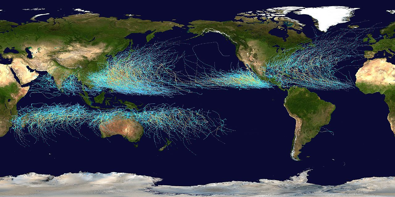 Global Warming Tropical Cyclone Tracks by NASA