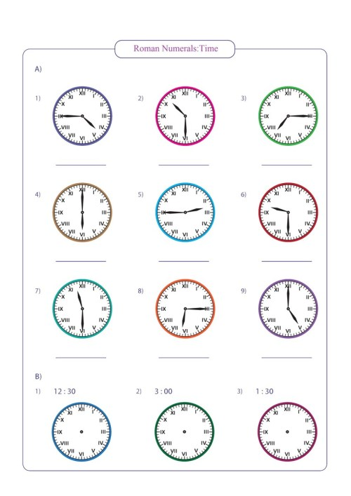 small resolution of roman numerals time worksheet pdf Archives - Free Math Worksheets
