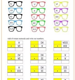 Roman Numerals : Glasses pdf - Free Math Worksheets [ 1200 x 849 Pixel ]
