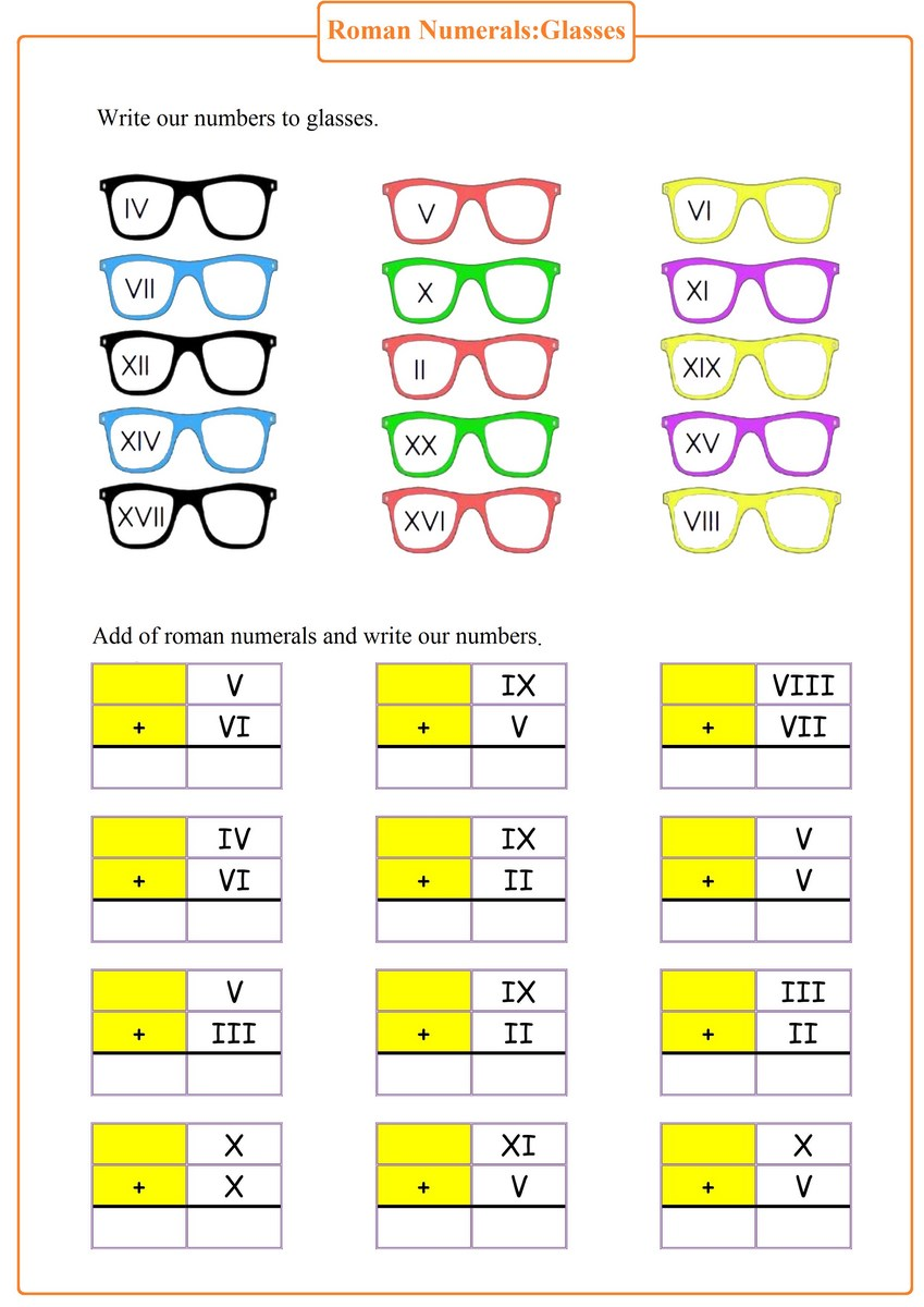 hight resolution of Roman Numerals : Glasses pdf - Free Math Worksheets