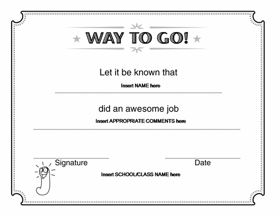 Way To Go Award Certificate – Microsoft Word Award