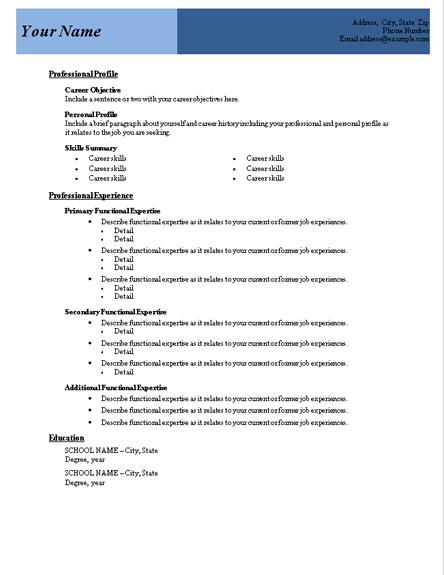 Microsoft Word Functional Resume Template  Resumes And CV