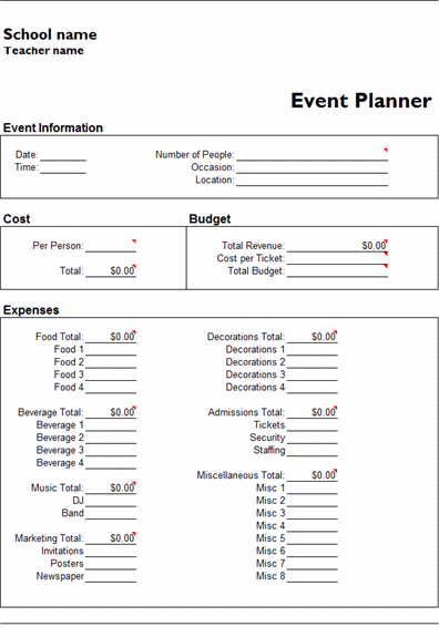 MS Excel Event Planner Template  MS Excel Templates