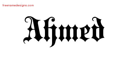 Old English Name Tattoo Designs Ahmed Free Lettering ...