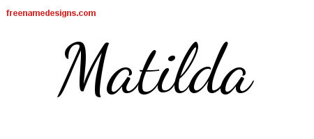 Lively Script Name Tattoo Designs Matilda Free Printout