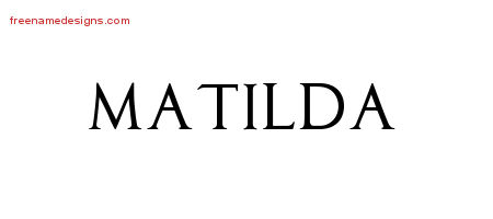 Regal Victorian Name Tattoo Designs Matilda Graphic