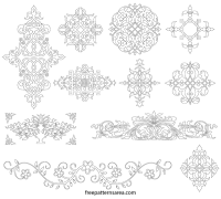 Damask Wall Stencil and Stickers Vector Pattern ...