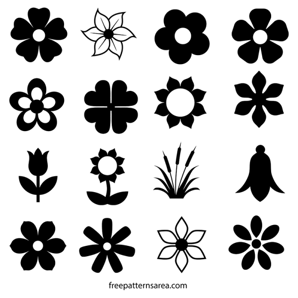 flower silhouette vector and outline