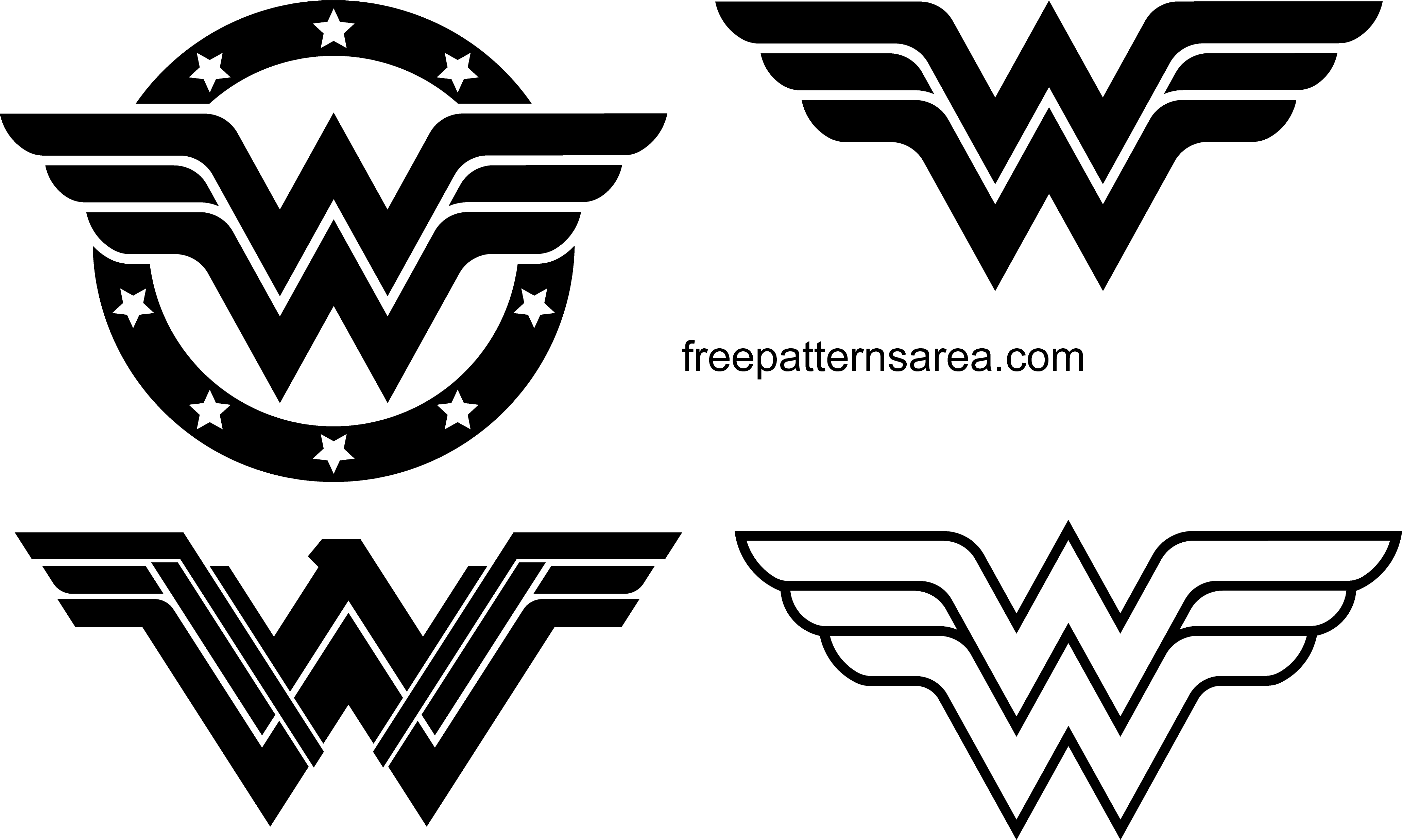 Wonder Woman Logo Symbol And Silhouette Vector