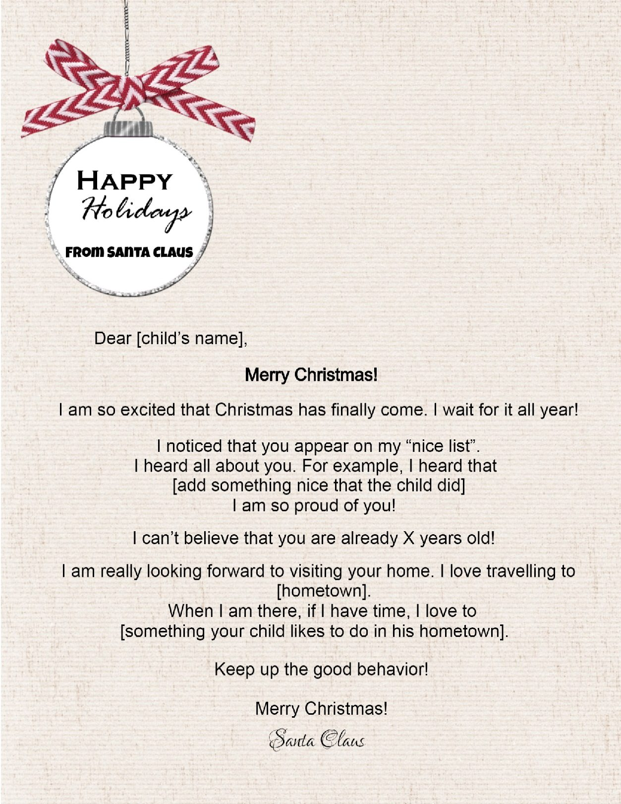 Free Letters from Santa