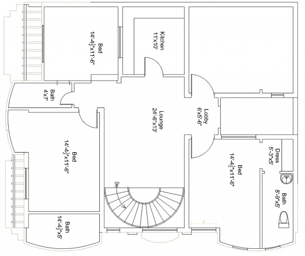 44×37 Feet / 151 Square Meters House Plan
