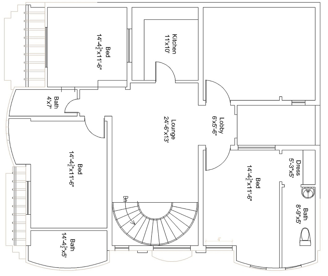 44×37 Feet / 151 Square Meters House Plan