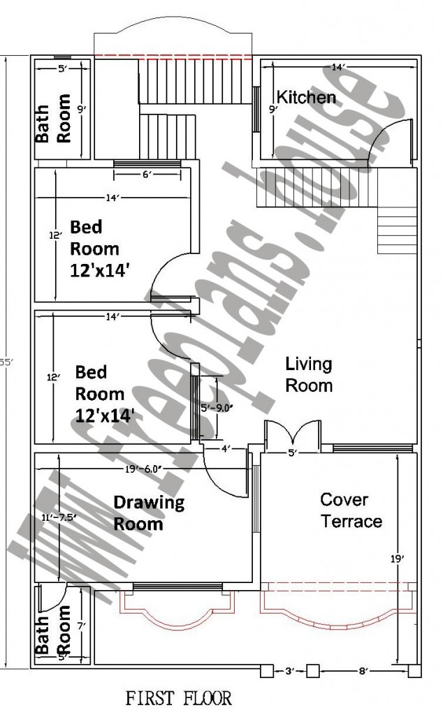 35×55 Feet/ 178 Square Meters House Plan