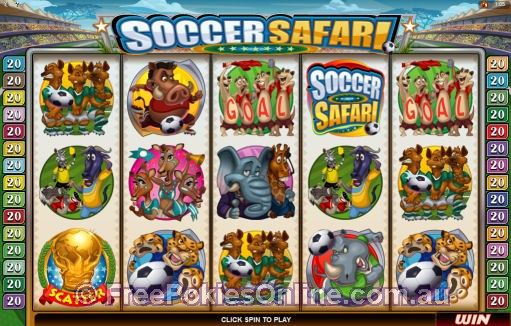 Soccer Safari Poker Machine - Main Screen