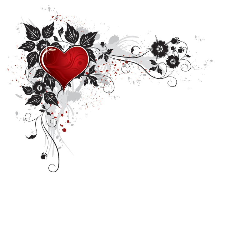 Red Heart Flower PPT Background « PPT Backgrounds Templates