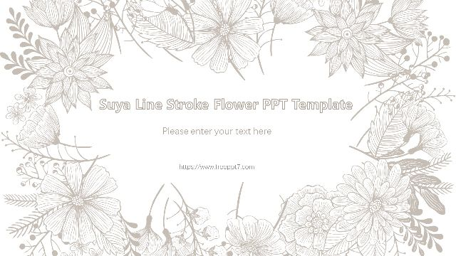 Simple and elegant line drawing flower PPT templates_Best