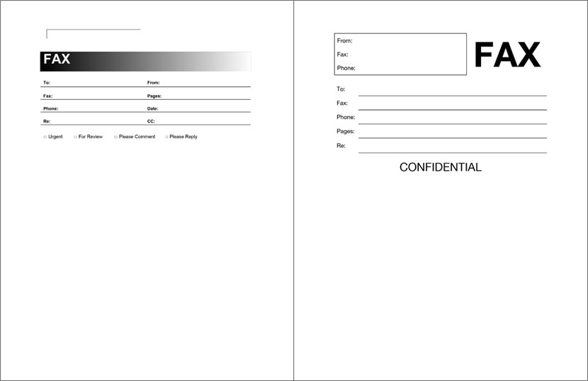 microsoft office word fax cover sheet template