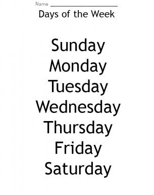 Week Days Worksheet