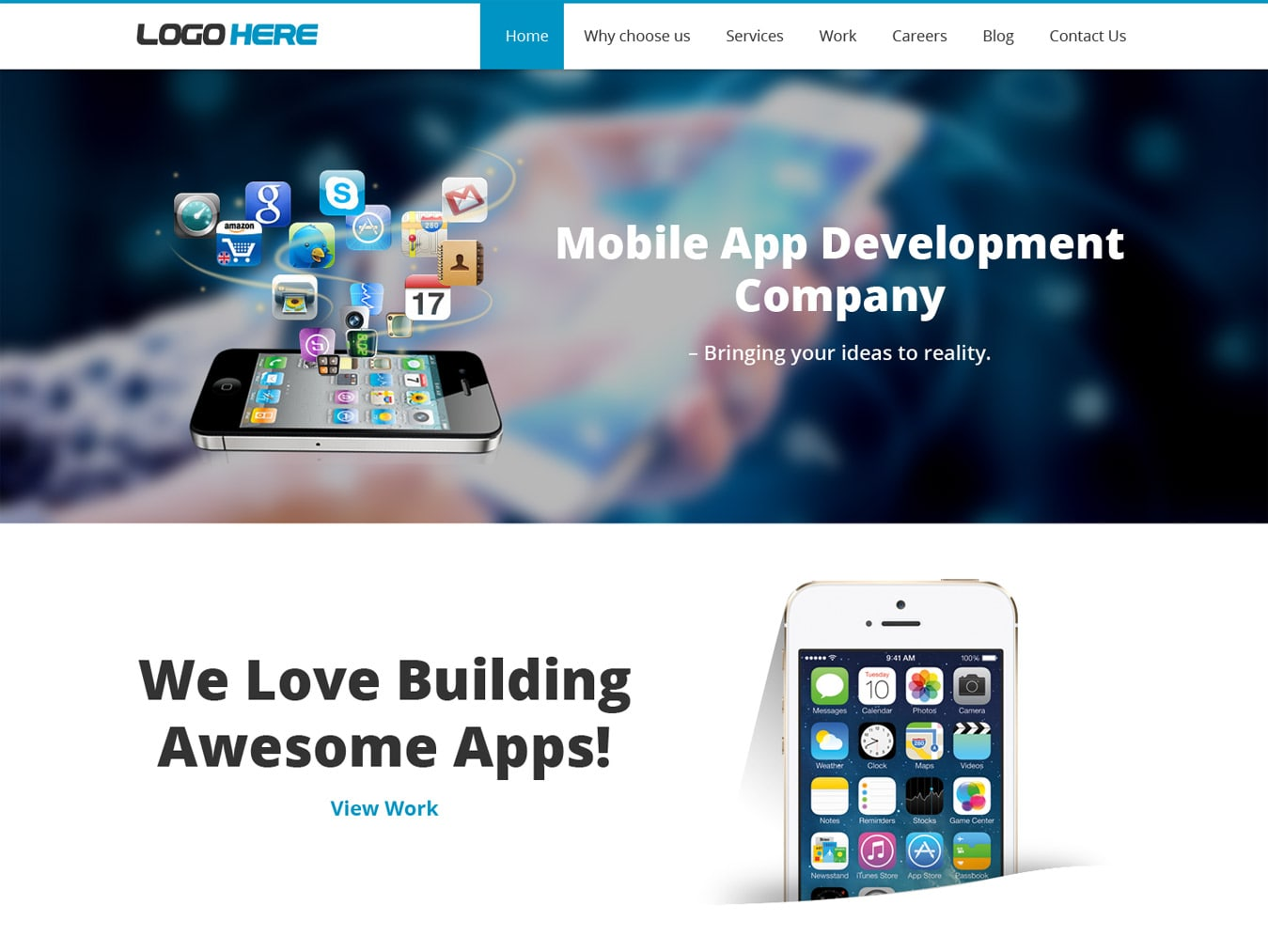 Mobile app development company website template