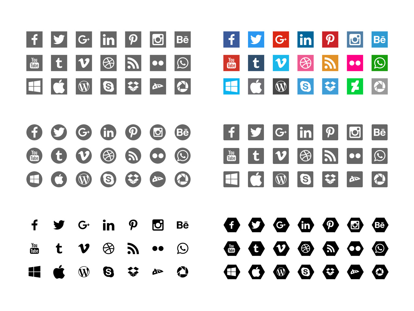 Free Social icons set free psd download