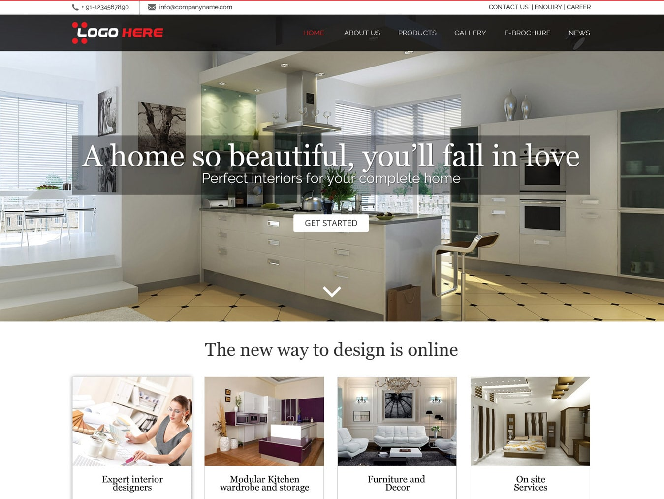 Interior website design template