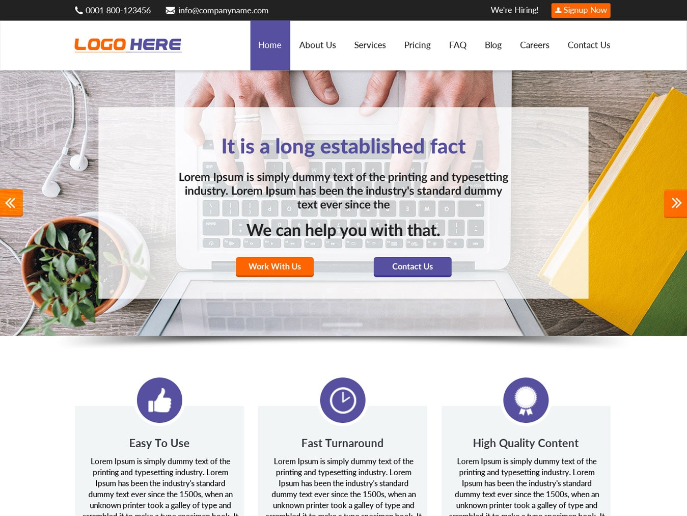 Content writing website template
