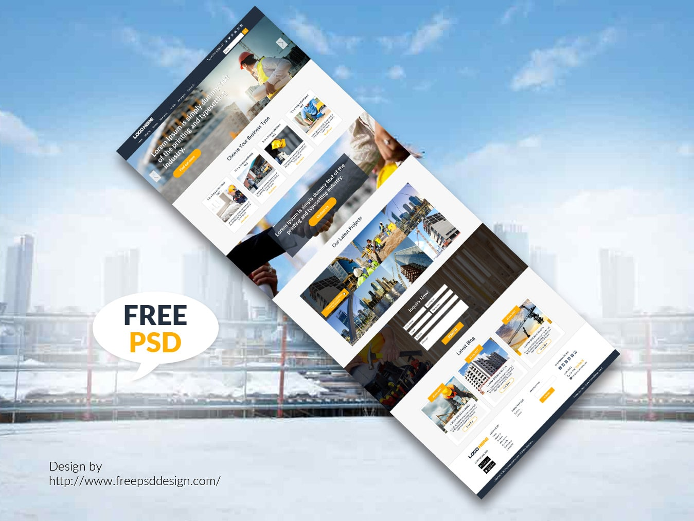 Construction website template design