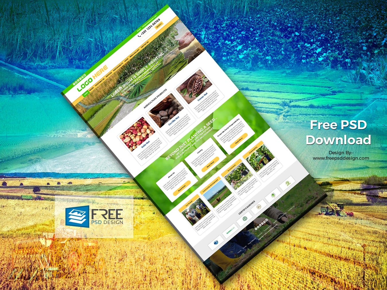Agriculture website template free psd file
